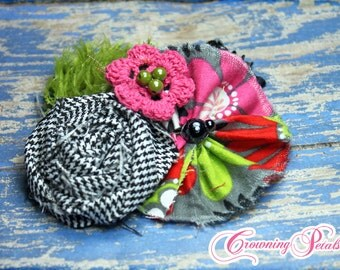 Flower Hair Accessory, Pink, Black and White, Lime, Baby Girl Headband, Fabric Flower Brooch Pin, Flower Hair Bow, Hair Clip
