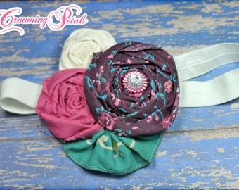 Teal, Eggplant, Mauve Pink Headband, Purple, Fabric Flower Hair Clip, Turquoise, Baby Girl Hair Bow, Infant Headband, Floral Brooch
