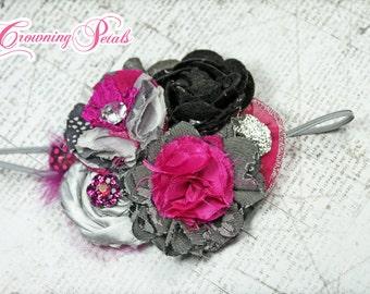 Fuchsia Pink, Black, Grey Hair Piece, Flower Headband, Silver, Baby Hair Accessory, Hair Bow, Clip, Dark Pink Fabric Flowers, Hair Piece