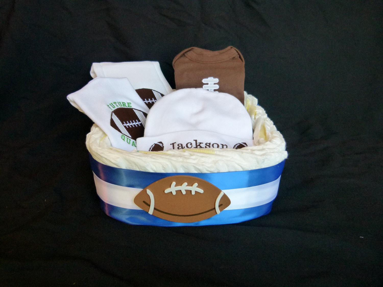 Baby Gift Basket Diapers : Football newborn baby boy gift set diaper basket new