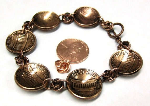 Antiqued Domed Chainmaille Copper Penny Bracelet