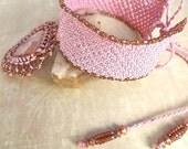 Macrame Necklace, Macrame Choker, Pink, Crazy Lace Agate - neferknots