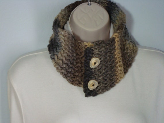 Womans -Loom Knitted - Cowl Neck Warmer - Brown- Taupe Stripe - Antler Buttons