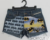 Low Rise BATMAN Comic / The Dark Knight Painted and Studded Cut Off Denim Shorts, Forever a Fan Collection, XS