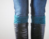 Turquoise boot cuffs. crochet boot socks. dark teal leg warmers. knit boot toppers. crochet boot cuffs. womens boot cuffs. boot warmers.