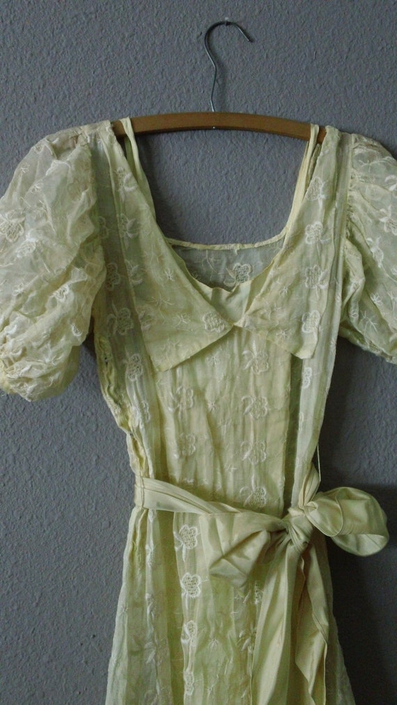 RESERVED CREATED COLLECTED 20s 30s Yellow Embroidered Ruffled bottom Crinoline Party Dress