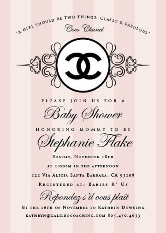 Reserved For Jill Coco Chanel Baby Shower Invitation