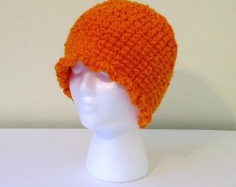 Crochet Hat Beanie Womens Orange Handmade Littlestsister