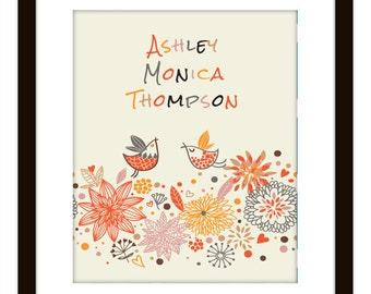 Personalized Kid's Bird and Flower Art Print