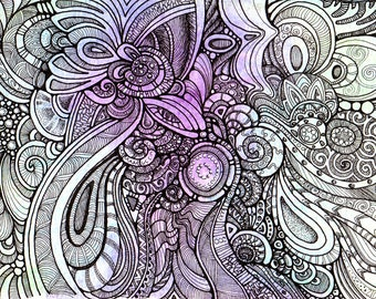 Synchronicity 1 - Beautiful abstract swirls and spirals and curves.  Pen and ink.  Blue and purple background.