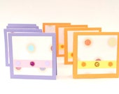 Mini blank cards 3 x3 inches, set of 8, in purple and orange, any occasion cards, gift tags set