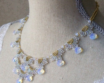 Woven opalite necklace - Vintage style woven bugle bead necklace