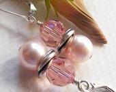 Light Pink Crystal and Swarovski Pearl Earrings on Sterling Silver Leverbacks. Rosaline. Light Rose. Love Knot.