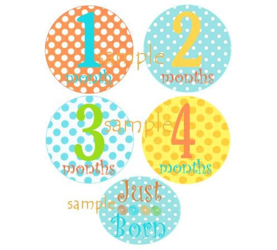 Baby Monthly Onesie Iron On  Transfers - Bright Happy Polka Dot Design Plus JUST BORN NO.100