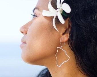 Hawaii Big Island Earrings Sterling Silver Hawaii Jewelry Medium