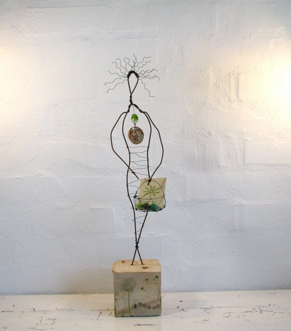 Wire Sculpture - Love Earth - Eco Friendly Driftwood Art - Rustic House Decor - Simple Soul Series