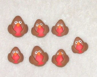 7 polymer clay Robins  -  (fimo) card making embellishments