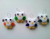 Owl Wedding Favors Decor ECO FELT Ornament SET of 4 Made to Order Gift