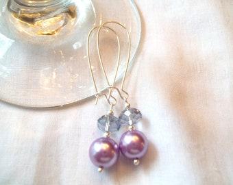 Pastel Purple Glass Pearl & Rondelle Earrings