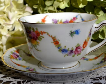 Epiag Fine Bone China Tea Cup and Saucer, Multicolor Floral Swags, Gold Gilt, Czechoslovakia