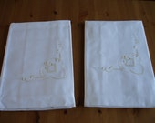 Pair Sheet  Unused  2 Sheets White  Cotton Yellow Embroidery   Germany Curtains Tablecloths Roman Blind Shades Bedspread