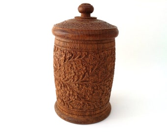 Hand Carved Wooden Pot, Vintage Lidded Pot, Made in India, Small Wooden Container, Home Decor, Hand Carved Decor
