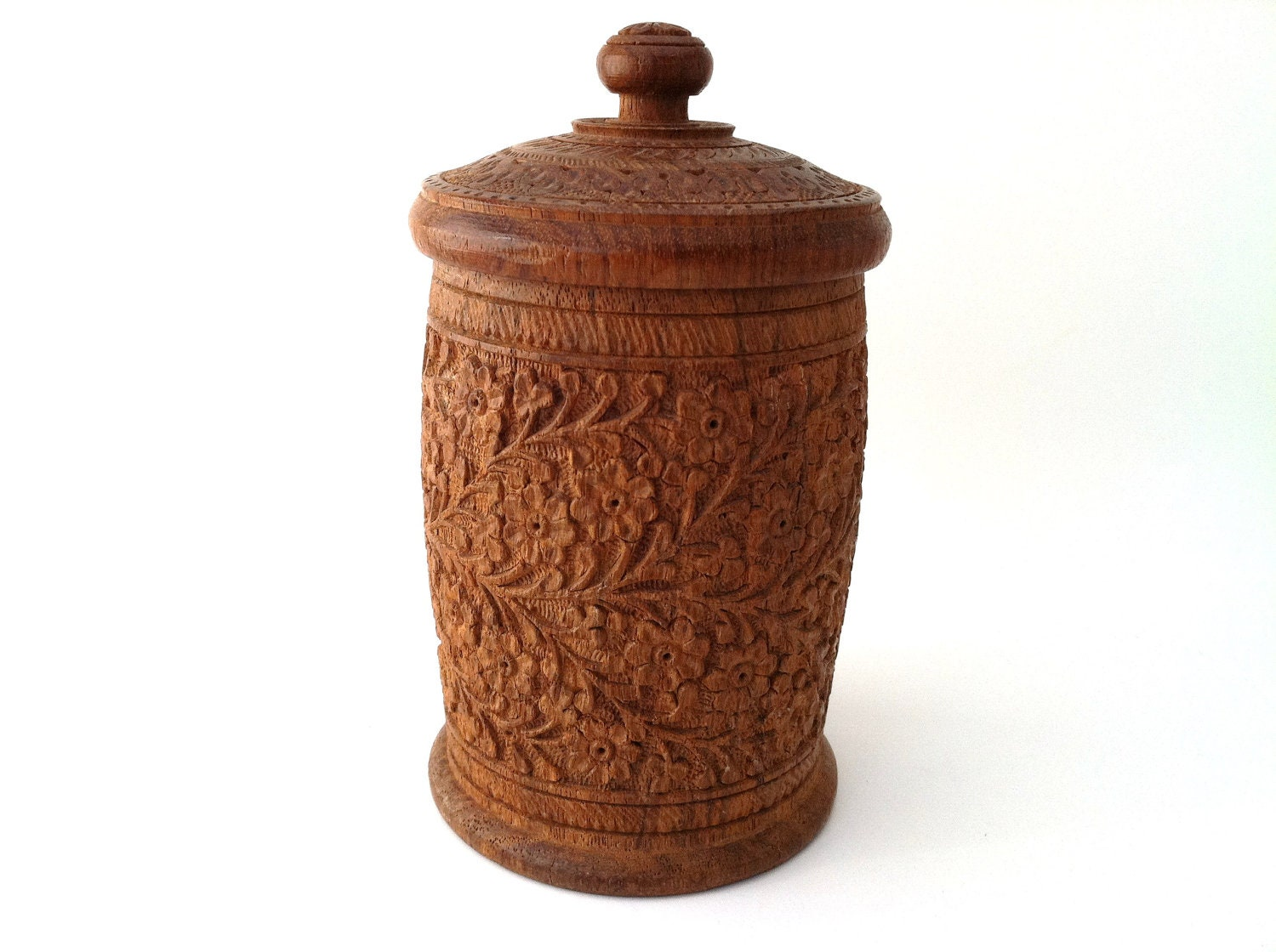 Hand carved wooden pot vintage lidded made in india