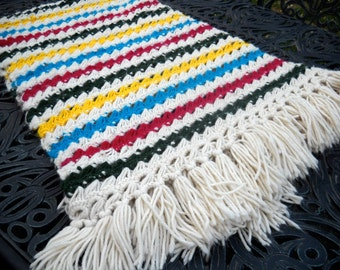 SALE--Vintage Crocheted Blanket or Throw, Multicolored Stripes