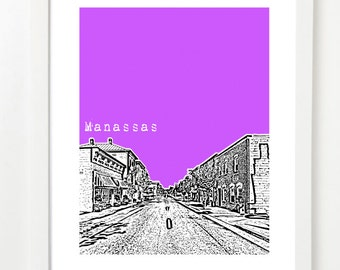Manassas, Virginia Art Print - City Skyline Series Poster - Moving Gift Ideas
