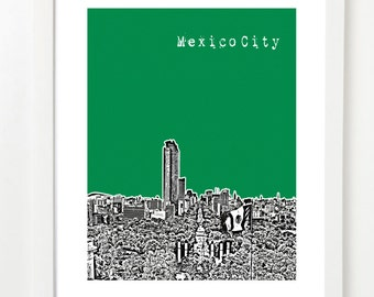 Mexico City, Art Print - Mexico City Skyline Series Posters - Mexico D.F. - VERSION 1