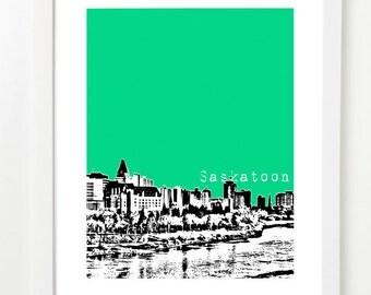 Saskatoon Poster  - Saskatoon City Skyline Art Print - Saskatoon Saskatchewan