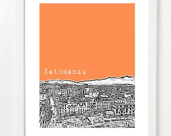 Kathmandu City Art - Kathmandu Skyline Poster - Kathmandu Nepal Art Print - VERSION 1