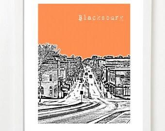 Blacksburg, Virginia Poster - City Skyline Art Print - Blacksburg, VA - Original Graduation Gift - VERSION 1