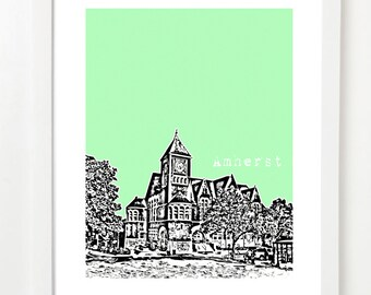 Amherst Massachusetts Poster - Amhetst City Skyline Series Art Print - VERSION 2