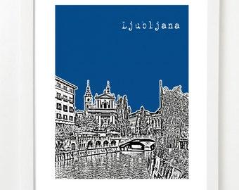 Ljubljana Poster - Ljubljana City Skyline Art Print - Slovenia - Home Office Art