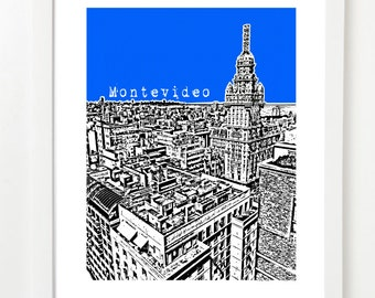 Montevideo Uruguay Art Poster - City Skyline Series Art Print - Palacio Salvo - VERSION 1