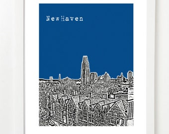 New Haven Poster - New Haven CT Skyline Poster - New Haven Art Print - VERSION 2