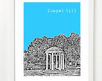 Chapel Hill, North Carolina Poster - Chapel Hill Wedding Gift - Chapel Hill Grad Gift -  VERSION 2