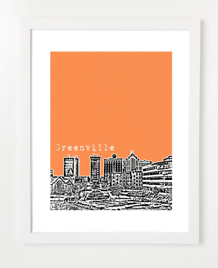 Greenville South Carolina Poster City Skyline Art Print