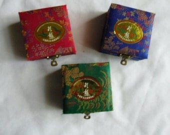 Vintage Oriental Fabric Boxes / Three Fabric Gift Boxes