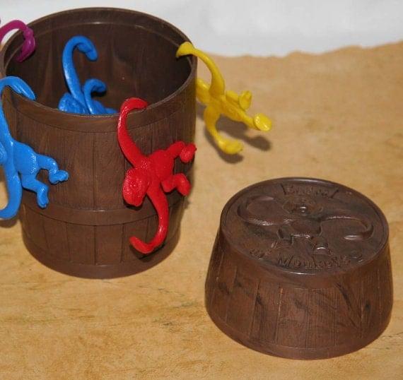 Vintage Game Original Barrel Of Monkeys In Brown Plastic