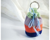 Mini Crocheted Key Chain Pouch - Small Cotton Coin Purse, Bag - Indigo Blue, Peach, Warm Grey, Mint Green
