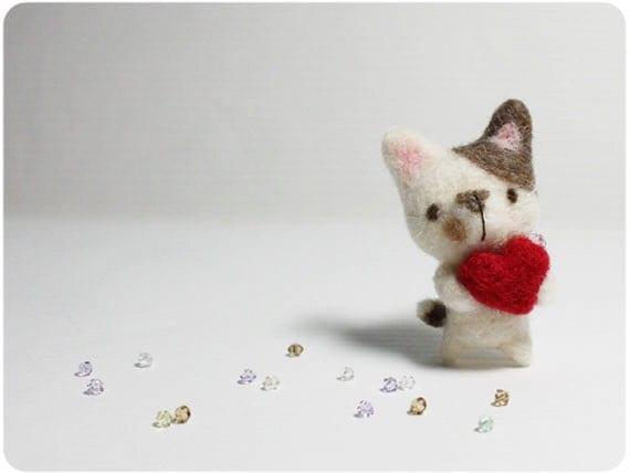 Bebe Cat - needle felted wool brooch, crystal bead