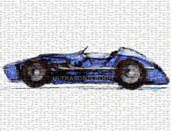 Blue Vintage F1 Racing Car, Mosaic Photo Collage Print of my original sketch drawing, Handmade, Home Nursery Decor, Men Gift, 8.3x11.7in
