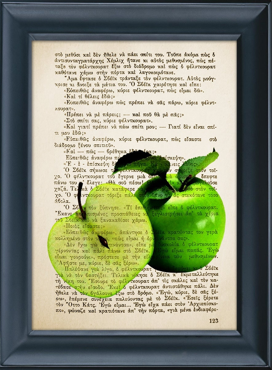 Kitchen decor green apple print vintage book by ultrasonicboom for Apples decoration for kitchen