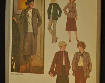 Misses' Skirt, Pants and Unlined Jacket Size 10 Uncut Vintage 1970s Sewing Pattern-Simplicity 9142