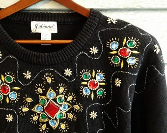 vintage 1980s glitzy sweater with beaded neckline. Christmas holiday jumper. retro clothing.