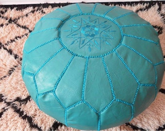 Handmade Leather Pouf ( also called : poof floor pillow foot stool) T