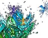 Hummingbirds Exploding Into Water - Sarah Landon original painting