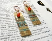 Recycled vintage tin earrings with carnelian